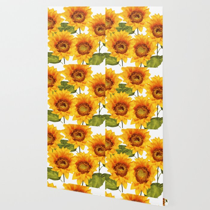 Design Five Sunflower on white Background Wallpaper