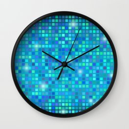 Abstract blue mosaic pattern Wall Clock