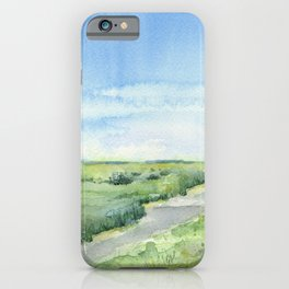 Sky and Grass Landscape Watercolor iPhone Case