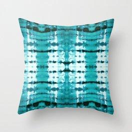 Aqua Satin Shibori Throw Pillow