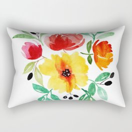Beautiful Watercolor Floral Element Rectangular Pillow