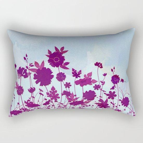 wild little flowers against watercolor sky Rectangular Pillow