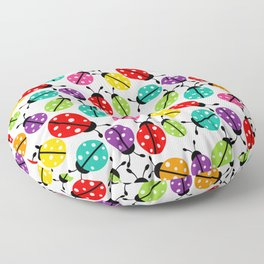 Lots of Crayon Colored Ladybugs Floor Pillow