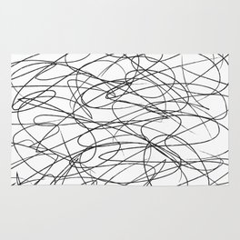 Hand Drawn Scribbles (black/white) Rug