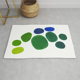 Mid Century Kusama Abstract Minimalist Colorful Pop Art Lime Green Blue Rainbow Ombre Gradient Rug