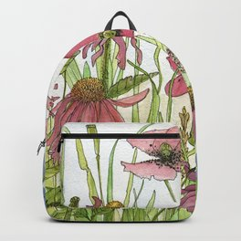 Red Poppy Wildflowers Watercolor Ink  Backpack