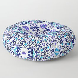 Turquoise Moroccan tile seamless pattern Floor Pillow