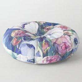 Watercolor anemone roses flowers Floor Pillow
