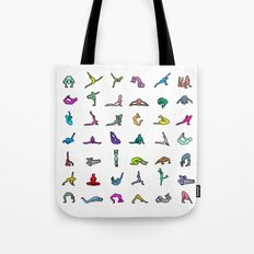 Rainbow Yoga Poses Tote Bag