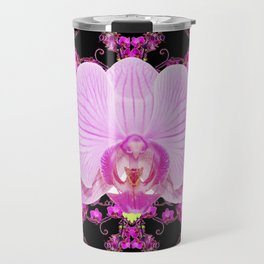 Purple Orchids Pattern Fantasy Yellow Black Art Pattern Travel Mug