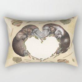 Adorable platypus plus a heart Rectangular Pillow