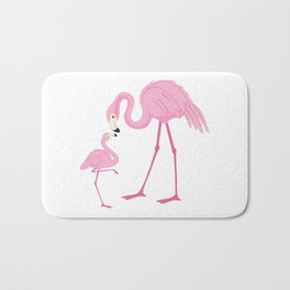 Pink flamingo mom and the baby Bath Mat