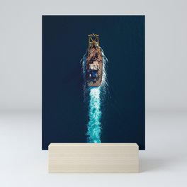 Barge Top View | Aerial Photography  Mini Art Print