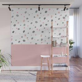 Baby pink gray watercolor polka dots pattern Wall Mural