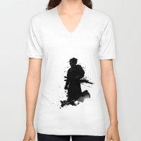 samurai V-neck T-shirts featuring Samurai by Nicklas Gustafsson