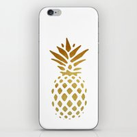 pineapple iPhone & iPod Skins featuring Golden Pineapple by Pati Designs