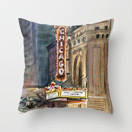Chicago Theatre Nocturne Throw Pillow