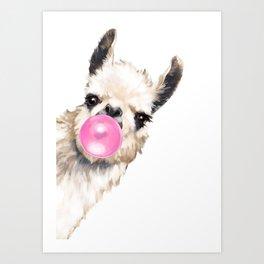 Bubble Gum Sneaky Llama Art Print
