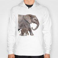 elephants Hoodies featuring Elephants by Goosi