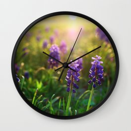 Grape Hyacinths (Muscari) Wall Clock