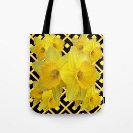 Black & Gold Pattern Daffodils Art Design Tote Bag