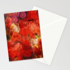 Floral impressionism in passionated red Stationery Cards