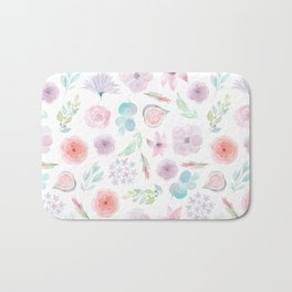Pastel pink lilac watercolor hand painted modern floral Bath Mat