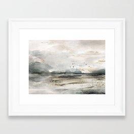 Seascape Sunset Painting Framed Art Print