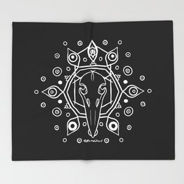 Raven Skull (All-Seeing) - White Throw Blanket