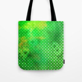 Texture in Green Flash with Polka Dots Tote Bag