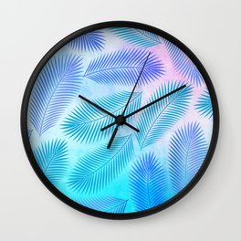 Feathers on Watercolor Background Wall Clock