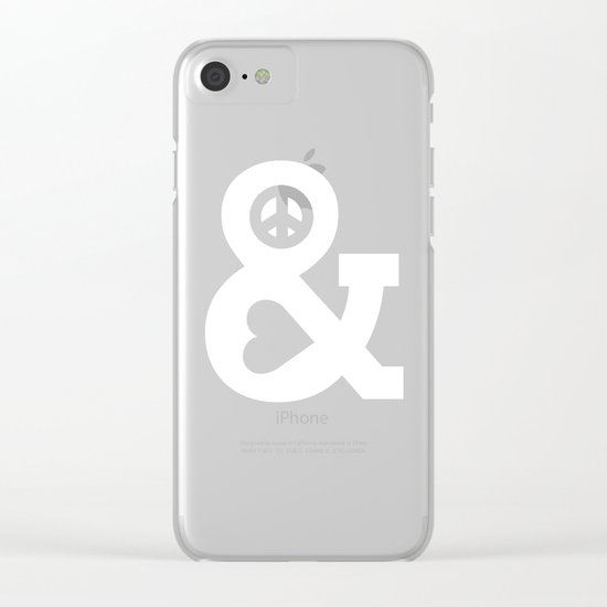 Peace and Love (pink edition) Clear iPhone Case