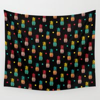 pineapples Wall Tapestries featuring Pineapples! by Rendra Sy