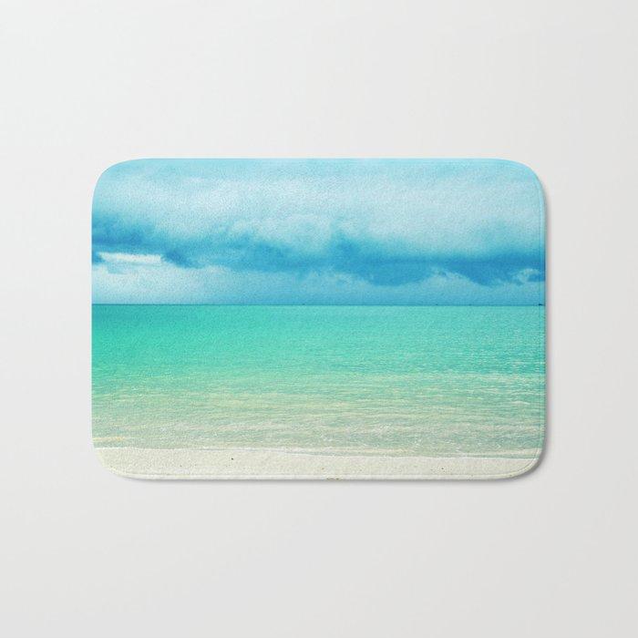 Blue Turquoise Tropical Sandy Beach Bath Mat