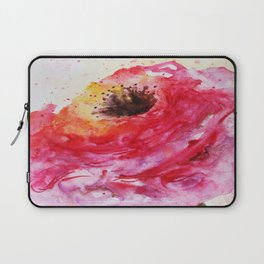 Big Pink Rose Blossom watercolor by CheyAnne Sexton Laptop Sleeve