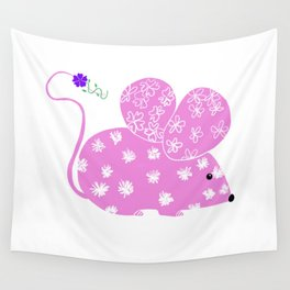 Miss Mousy Pinkie with Purple Petunia Wall Tapestry