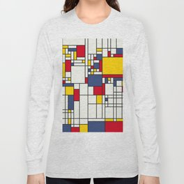 World Map Abstract Mondrian Style Long Sleeve T-shirt