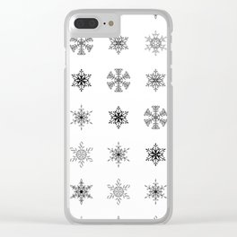 Snowflake Pattern - Black and white winter snowflake pattern artwork Clear iPhone Case