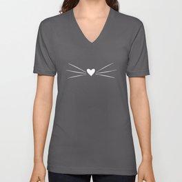 Cat Heart Nose & Whiskers White on Black Unisex V-Neck