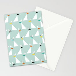 Seagulls and Sails Green Stationery Cards
