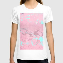 Pink Marble with Light Blue T-shirt