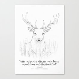 Psalm 42:1 Stag Canvas Print
