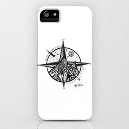 """Ascend"" Mountain Nature Artwork,  Compass Art iPhone Case"