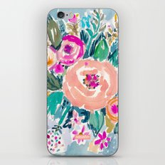 PEACH SPIN FLORAL iPhone & iPod Skin