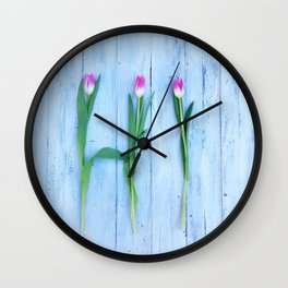Hello Tulips Wall Clock