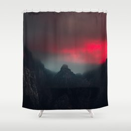 Burning clouds, fog and mountains Shower Curtain