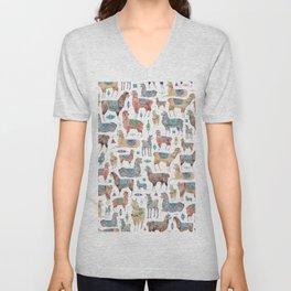 Llamas and Alpacas Unisex V-Neck