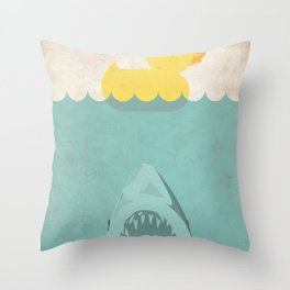 Jaws Rubber Duck Quack  Throw Pillow