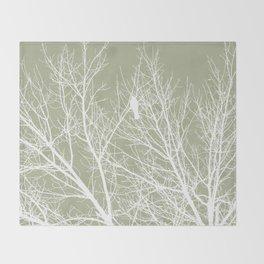 White Bird in White Tree - Moss A593 Throw Blanket