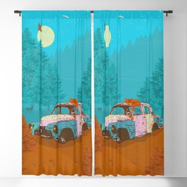 FOX & OLD RUSTY CAR Blackout Curtain